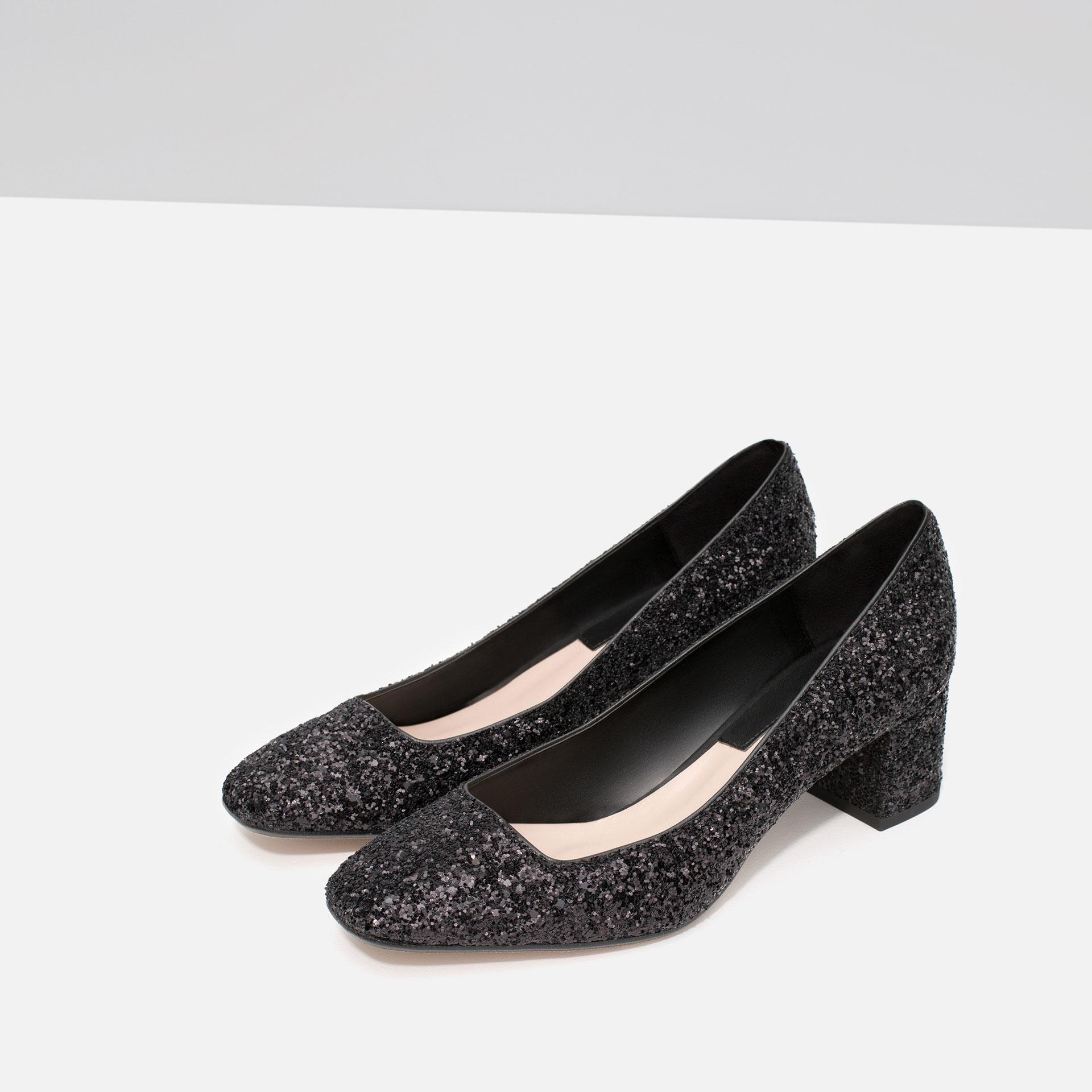 zara mid heel glitter shoes in black lyst