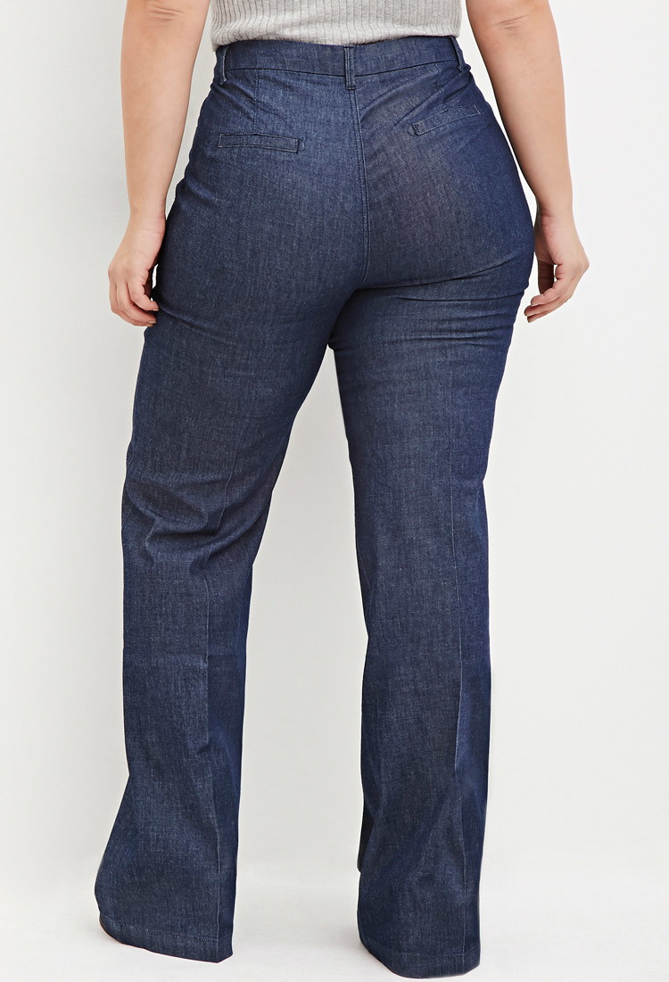 Forever 21 Plus Size Wide-leg Denim Pants in Blue | Lyst