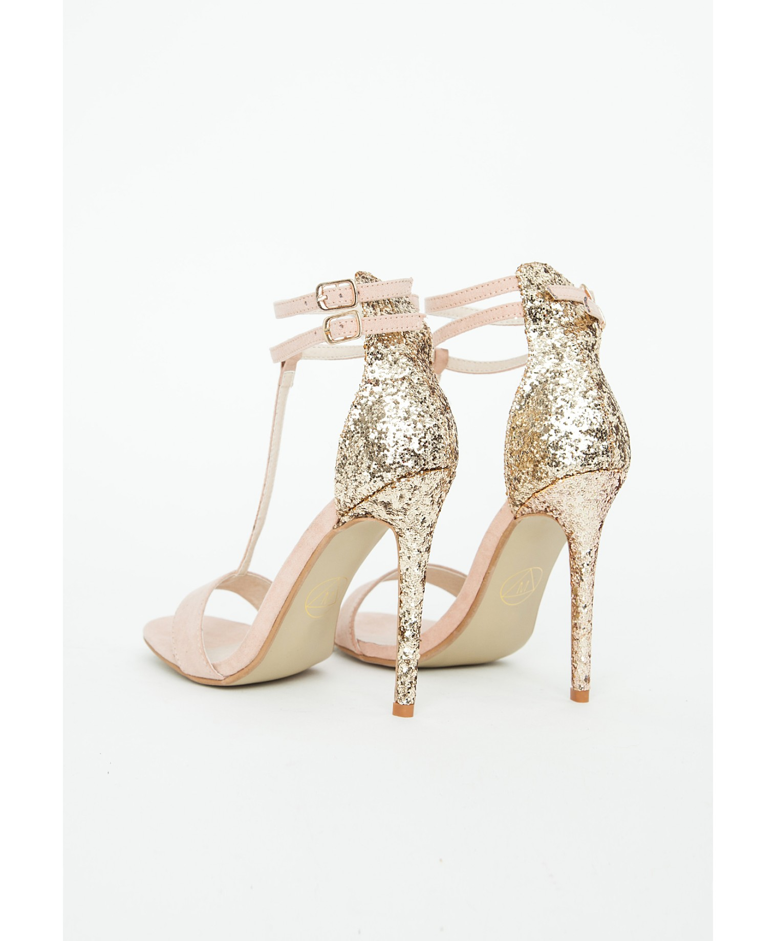 Missguided Pamela Nude Glitter Heel Sandals in Metallic | Lyst