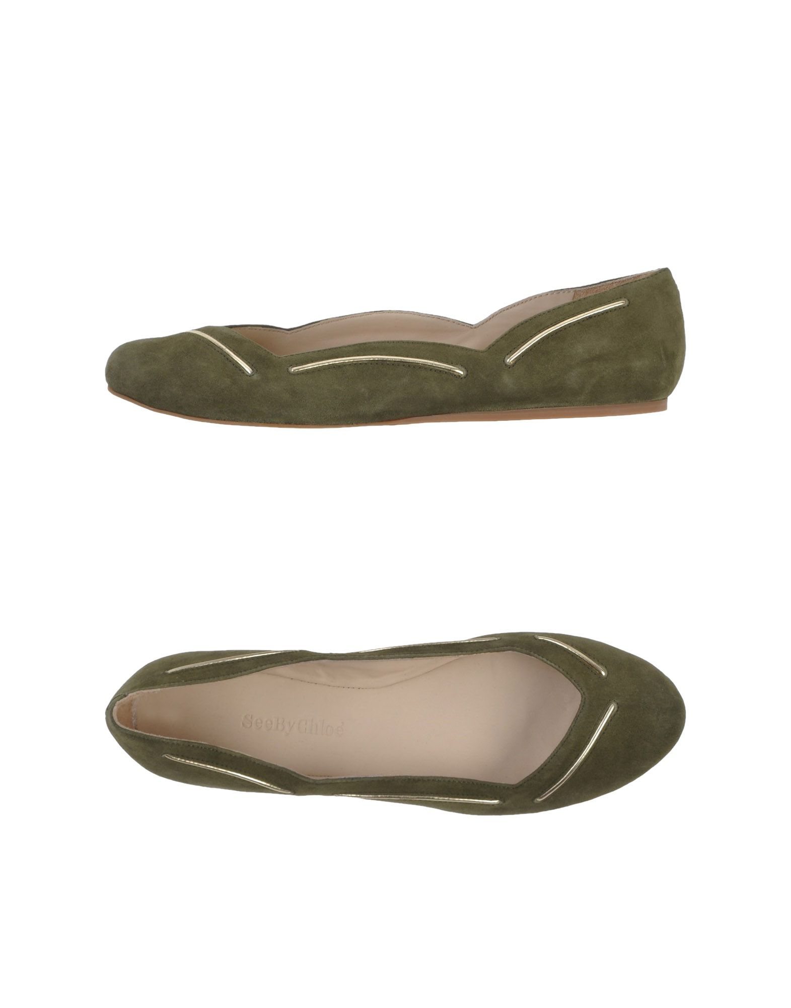 see by chlo ballet flats in green military green lyst. Black Bedroom Furniture Sets. Home Design Ideas