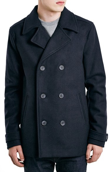 Topman Slim Fit Navy Double Breasted Peacoat in Blue for Men   Lyst