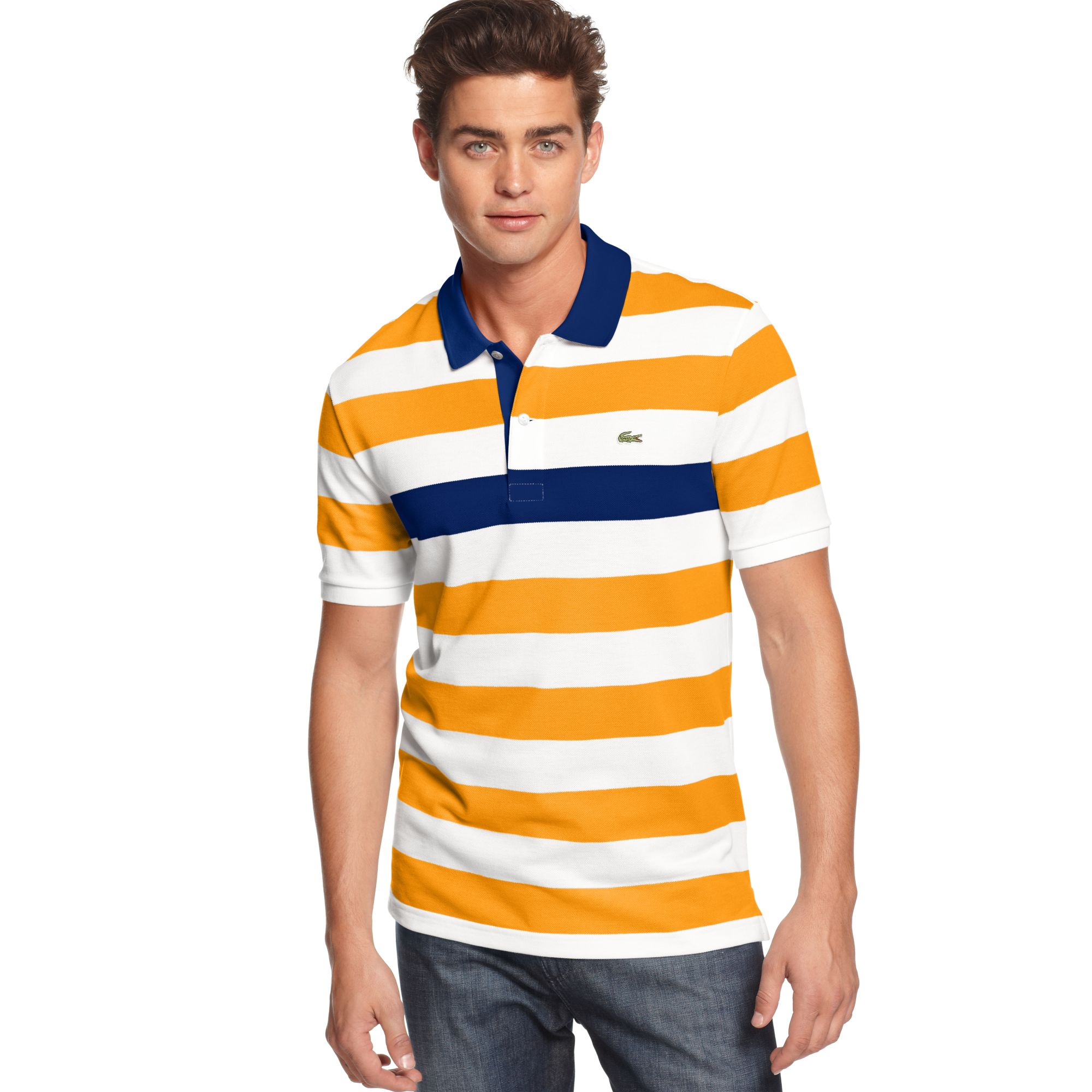 Lyst lacoste short sleeve pique bar striped polo in for Lacoste stripe pique polo shirt