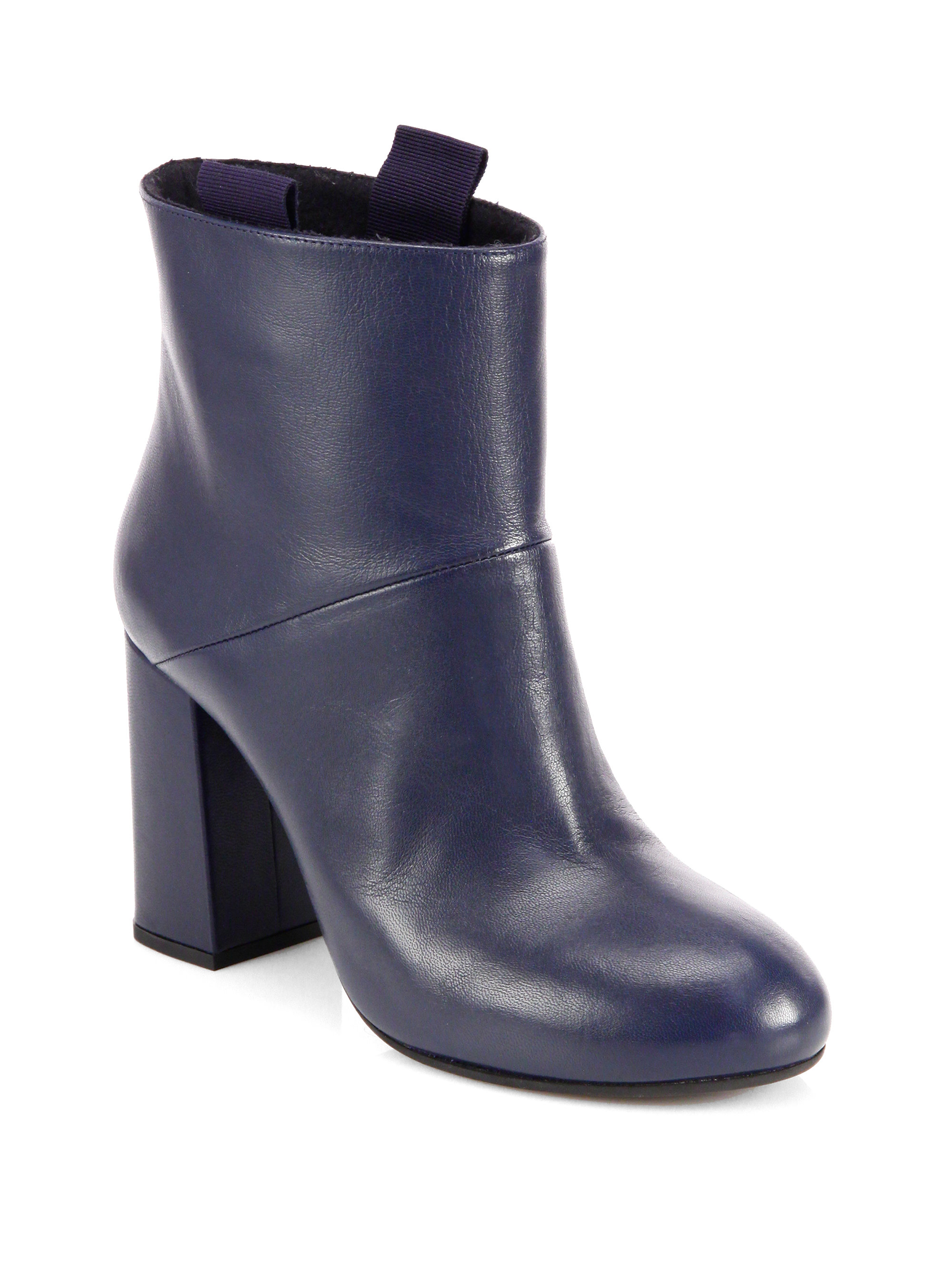 marni leather ankle boots in blue lyst