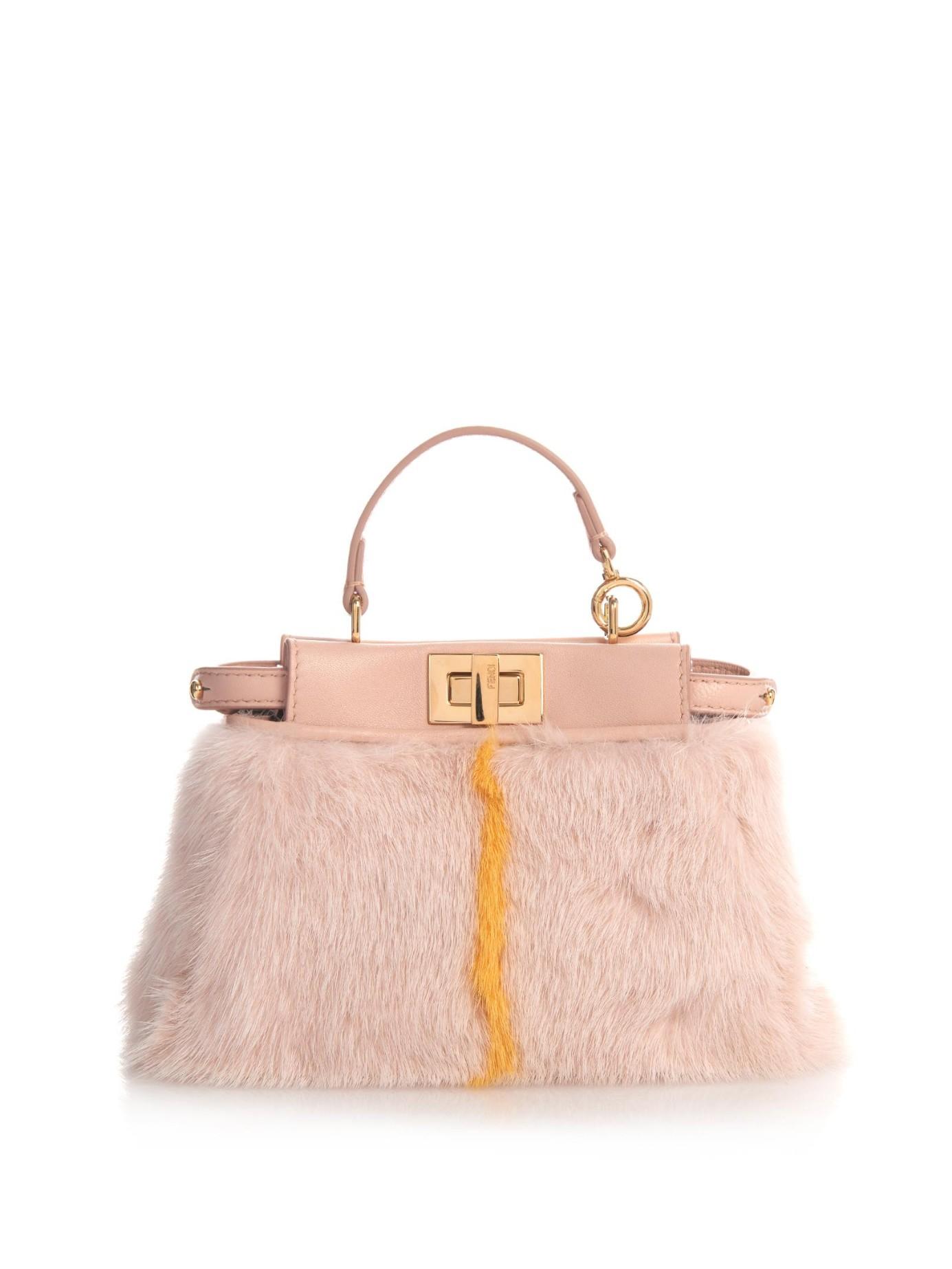 fendi micro peekaboo mink fur cross body bag in pink lyst. Black Bedroom Furniture Sets. Home Design Ideas
