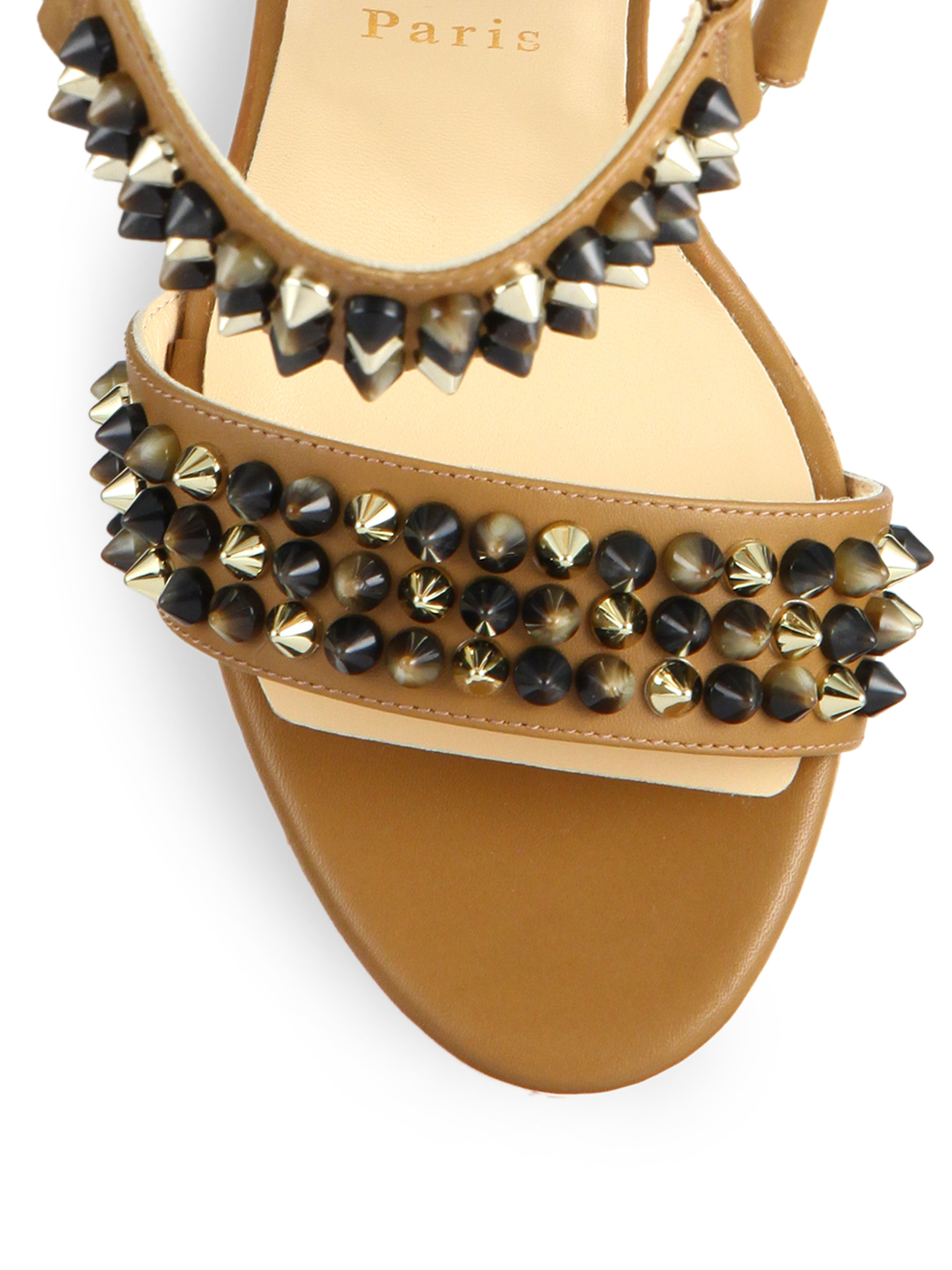 8dc6cd46877 Lyst - Christian Louboutin Studded Leather   Cork Platform Wedge ...