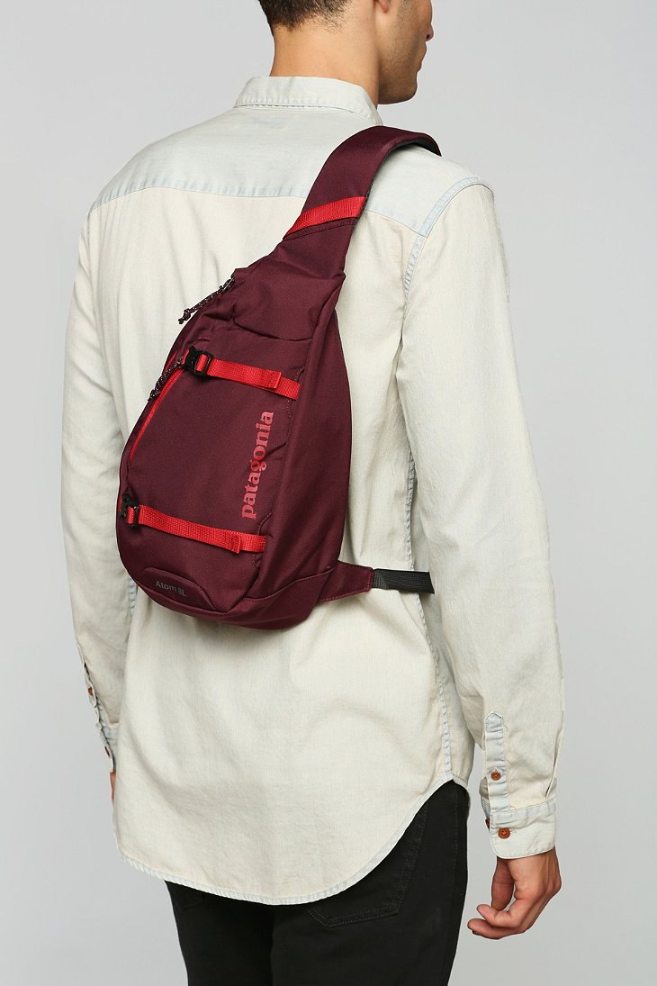 lyst patagonia atom sling backpack in red for men