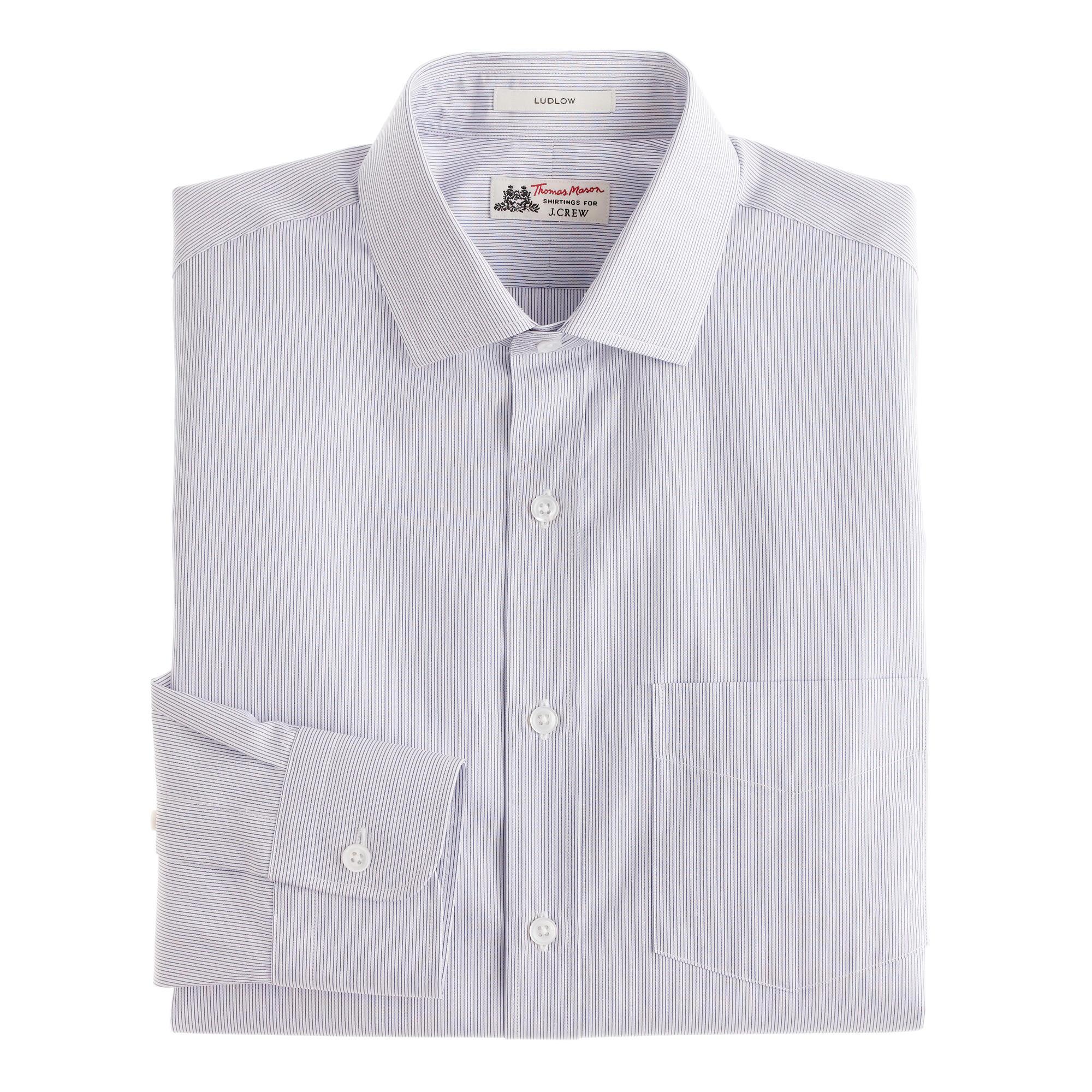Thomas mason ludlow shirt in paradise blue stripe for Thomas mason dress shirts