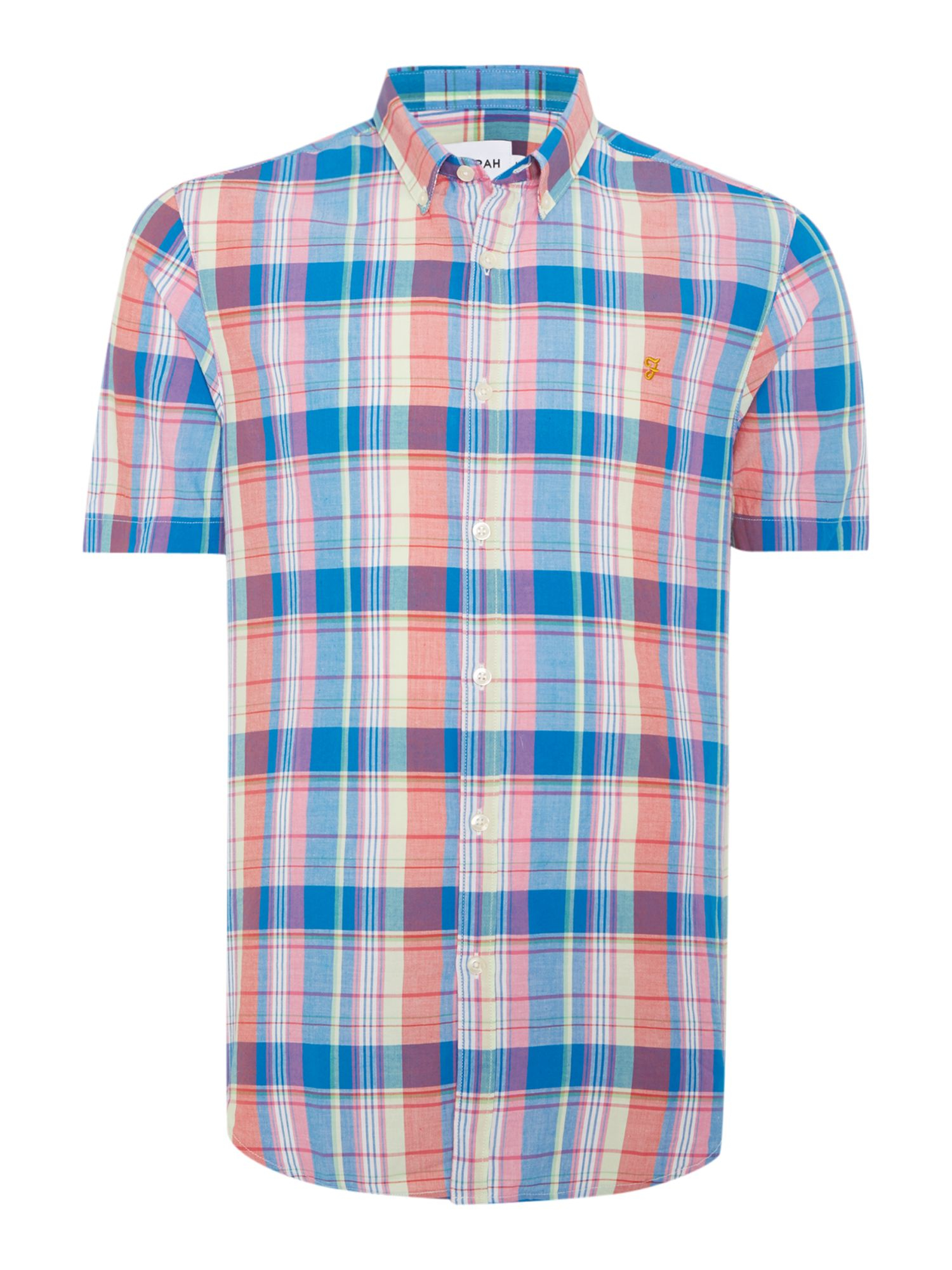 Lyst farah wylam slim fit short sleeve check shirt in for Slim fit check shirt