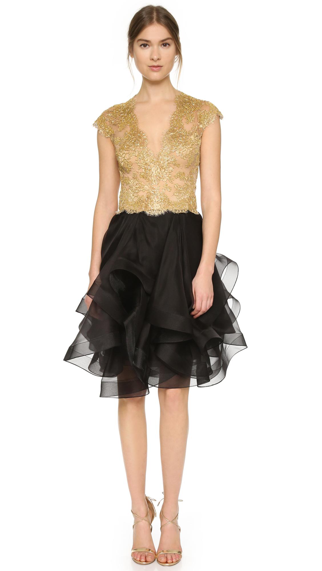 Lyst - Reem Acra Cap Sleeve Lace Dress in Metallic