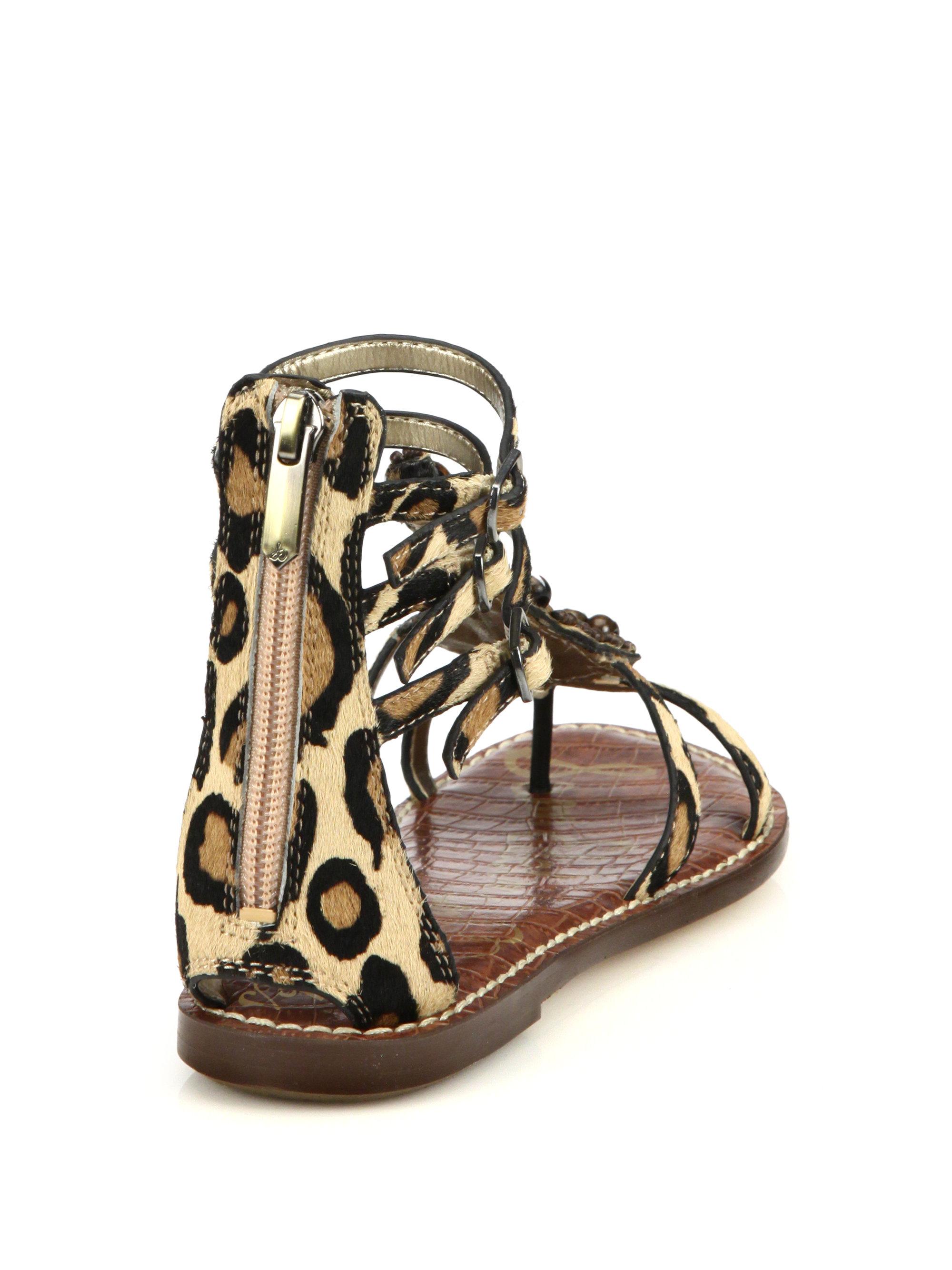 ec0e0bbdf939 Lyst - Sam Edelman Giada Beaded Leopard-print Calf Hair Sandals in ...