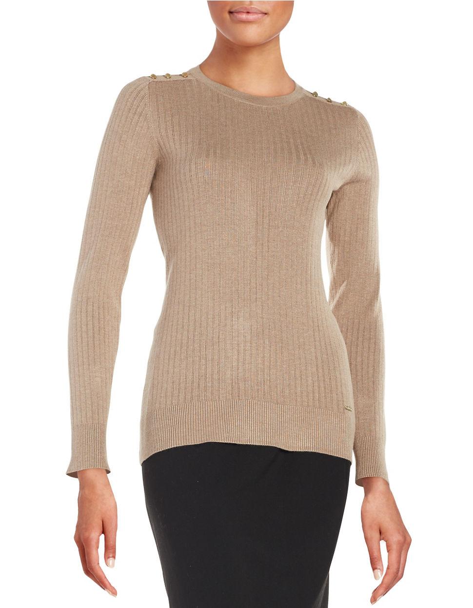 calvin klein ribbed knit sweater in beige heather frappe. Black Bedroom Furniture Sets. Home Design Ideas
