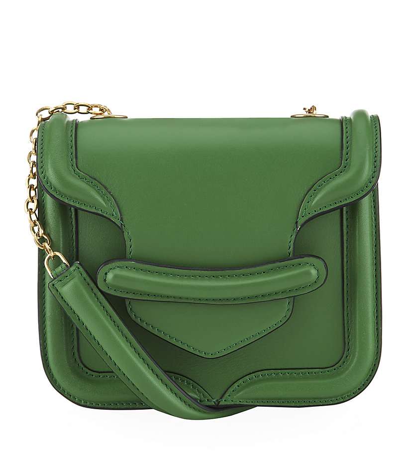 Alexander Mcqueen Mini Heroine Shoulder Bag in Green | Lyst