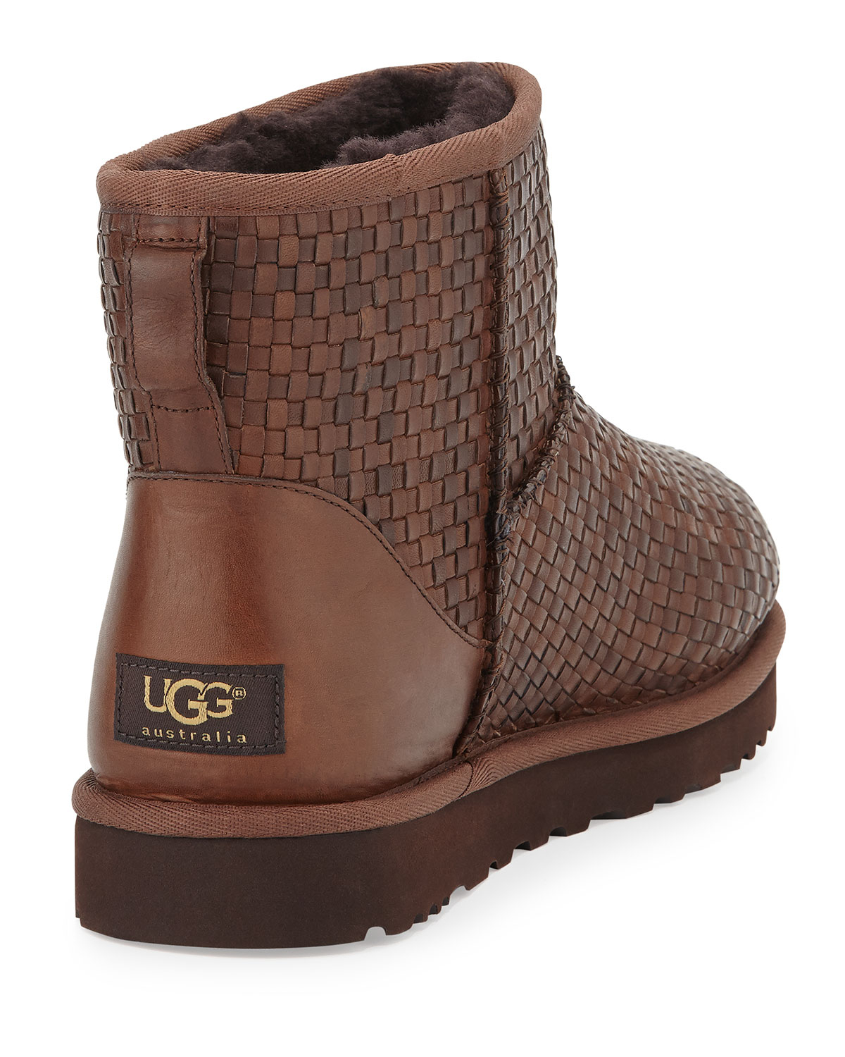 UGG Woven Leather Mini Boot in Brown - Lyst