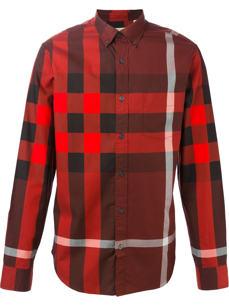 Burberry brit checked shirt in red for men lyst for Burberry brit checked shirt