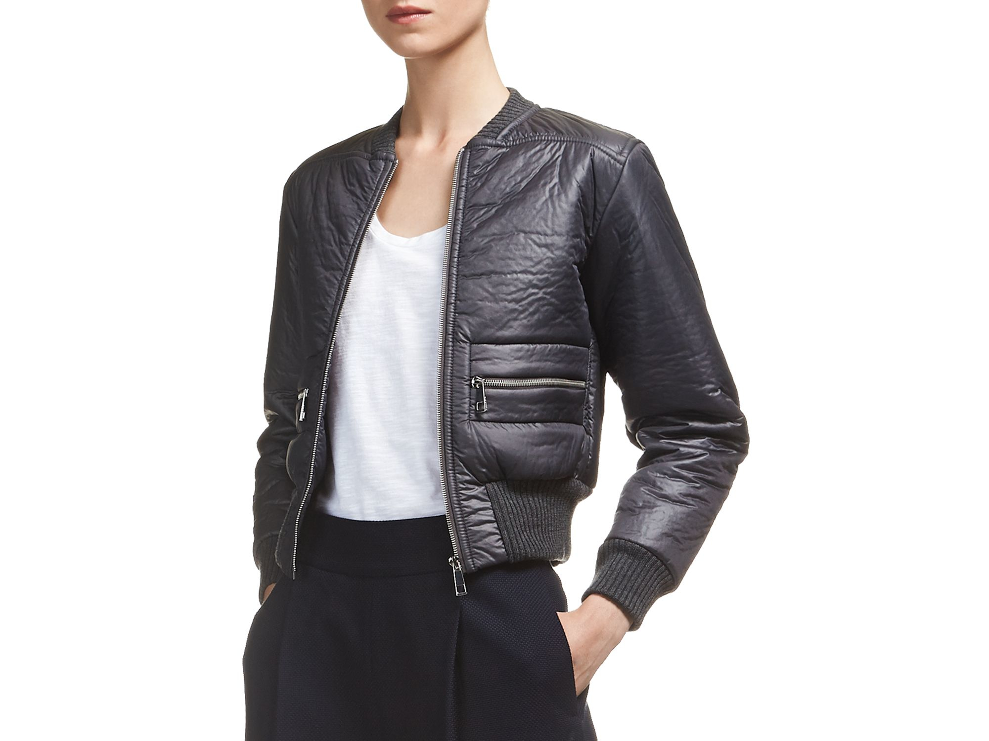 Whistles Jete Bomber Jacket in Gray | Lyst