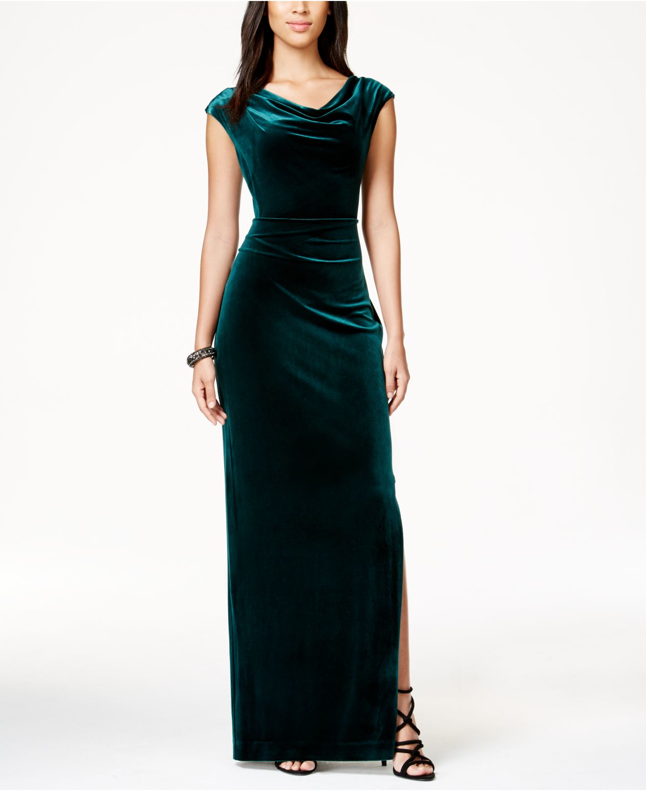 Lyst - Vince Camuto Cowl-neck Velvet Gown in Green
