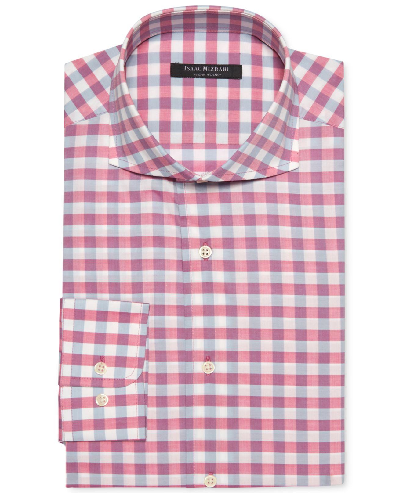 Lyst Isaac Mizrahi New York Slim Fit Gingham Dress Shirt In Pink