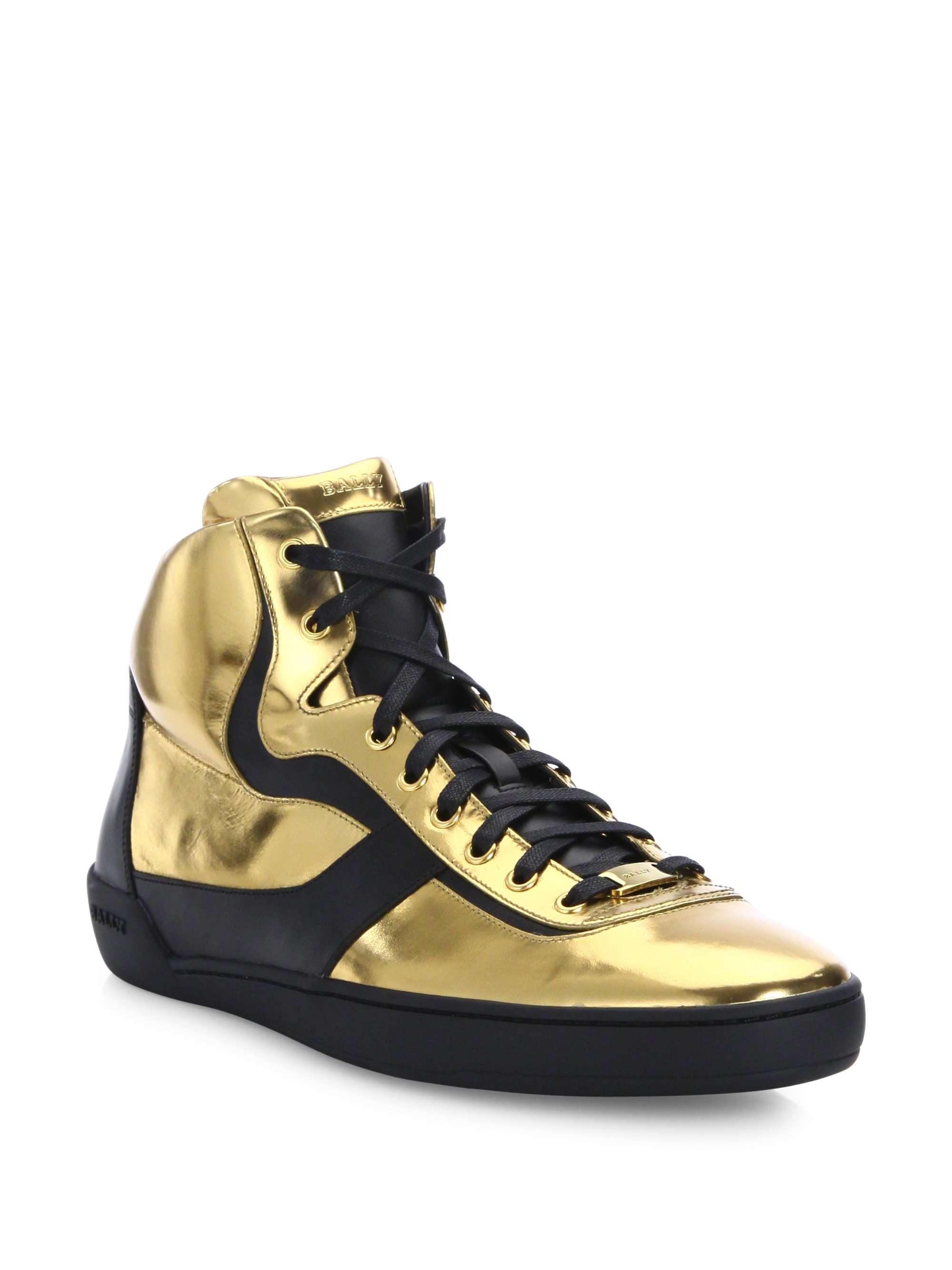 Bally Eroy Metallic Calf Leather High Top Sneakers In