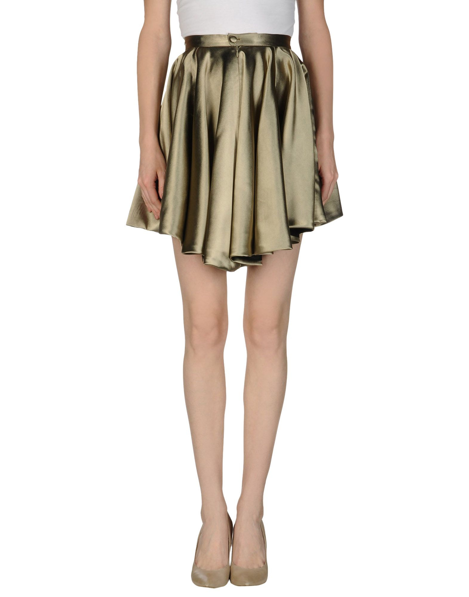 yiqing yin knee length skirt in khaki lyst