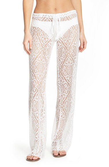 Becca 'amore' Lace Swim Cover Up Pants in Black | Lyst