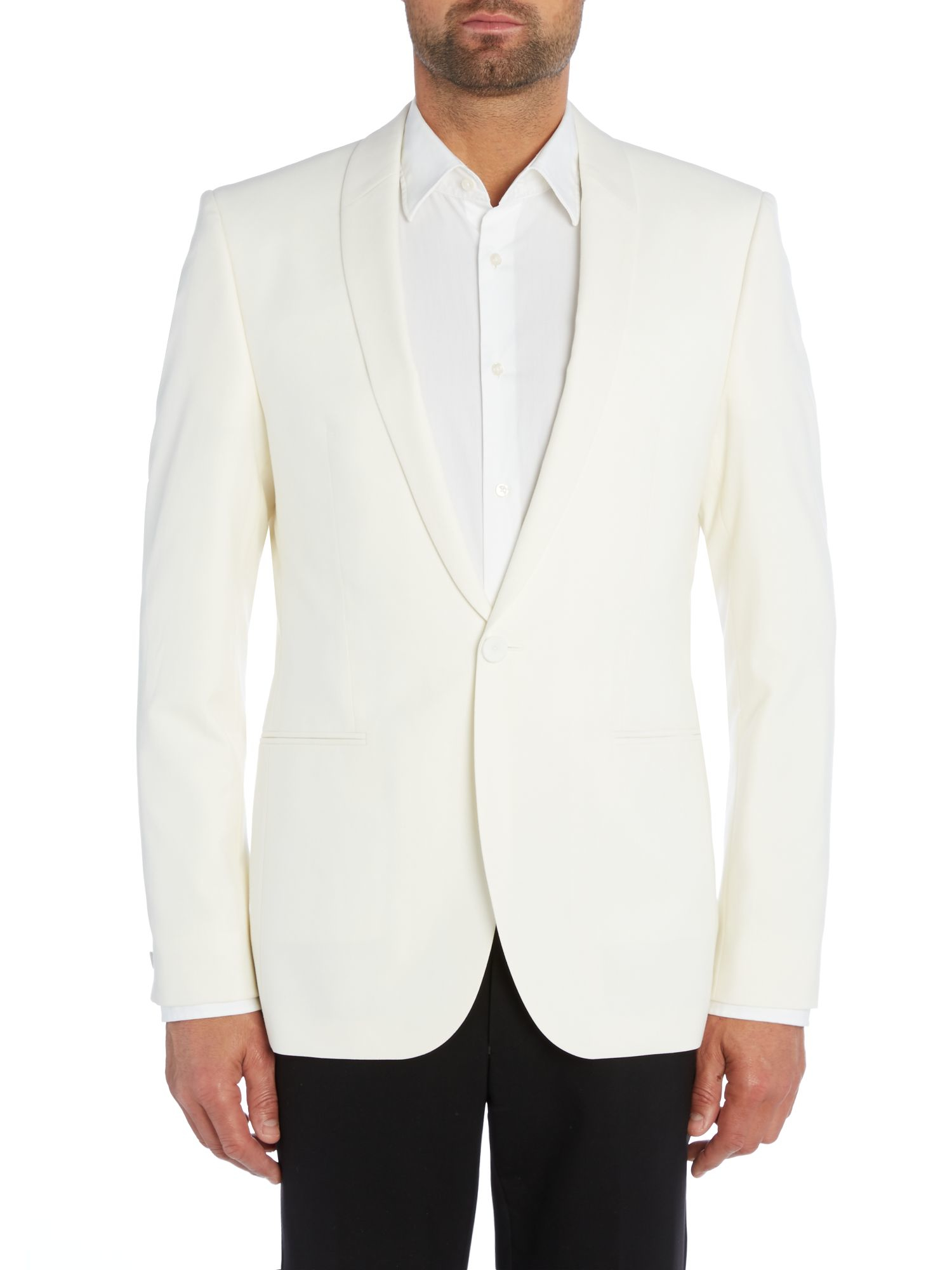 Lyst hugo arido slim fit textured shawl dinner jacket in for Dinner shirts slim fit