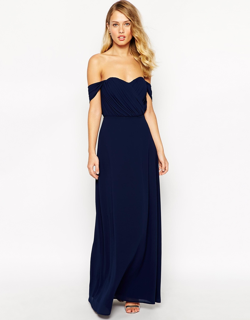 Jarlo Florance Off Shoulder Maxi Dress in Blue  Lyst