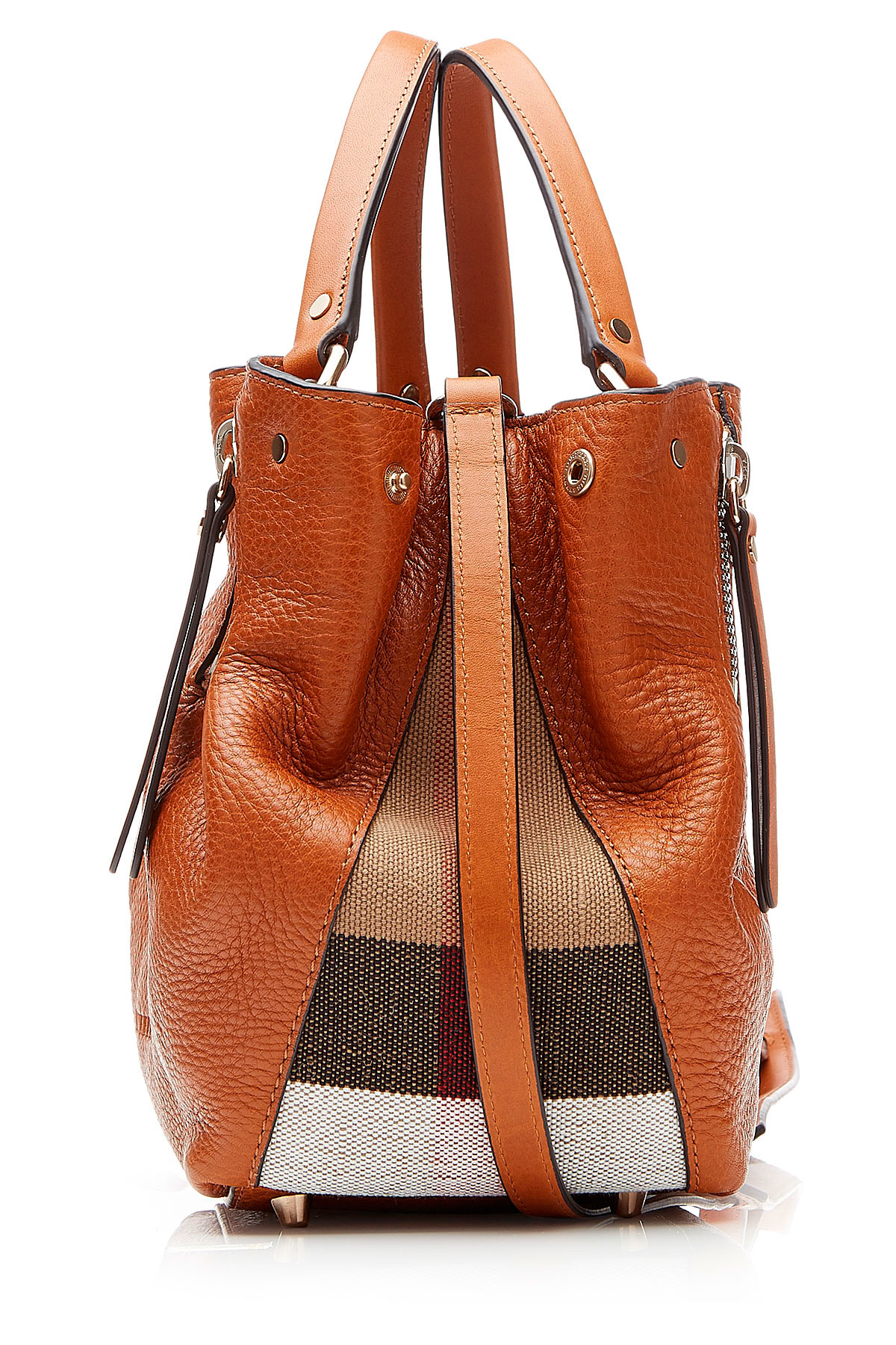 Lyst - Burberry Leather Shoulder Bag With Printed Fabric - Brown in ... a6aa5a3c88963