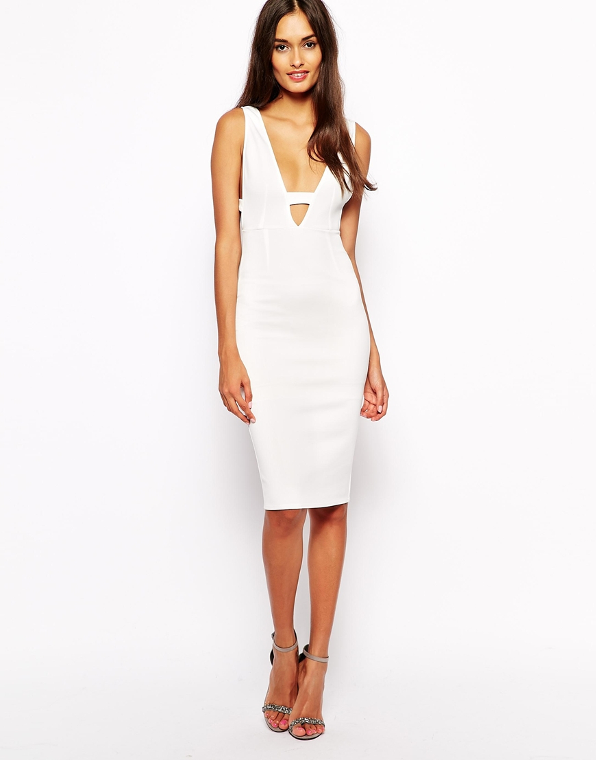 Lyst - Oh My Love Plunge Neck Bodycon Dress with Side Detail in White 8be34e1f1