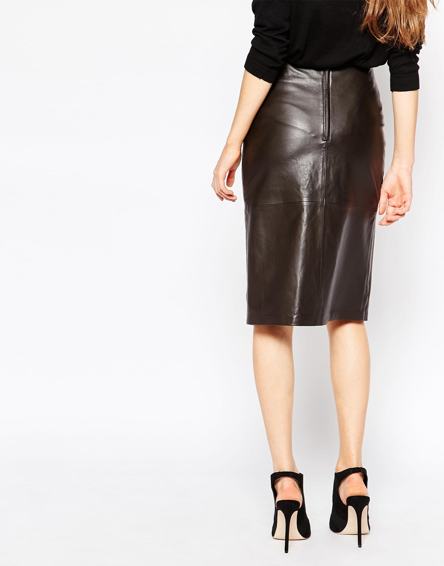 Just female Jenna Leather Wrap Skirt in Brown | Lyst