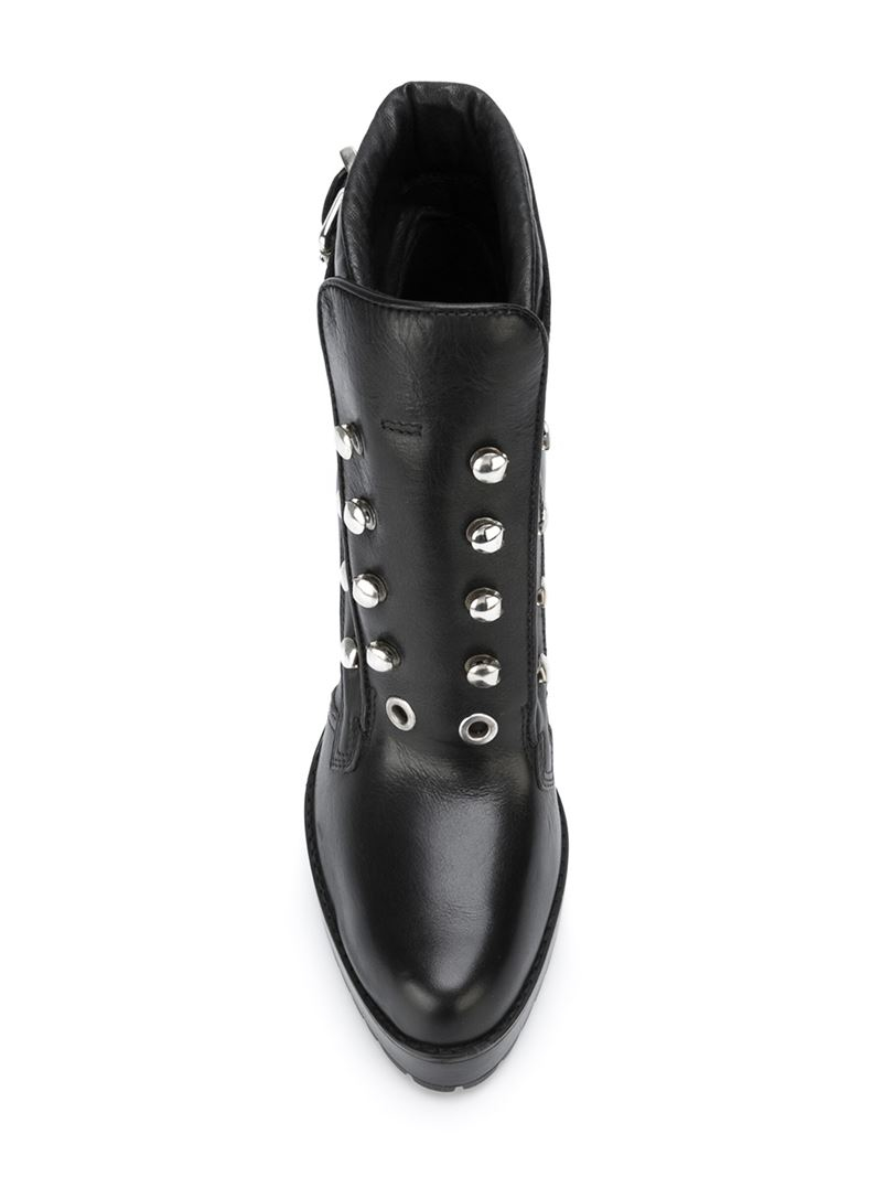 Lyst Diesel Studded Buckle Leather Boots In Black