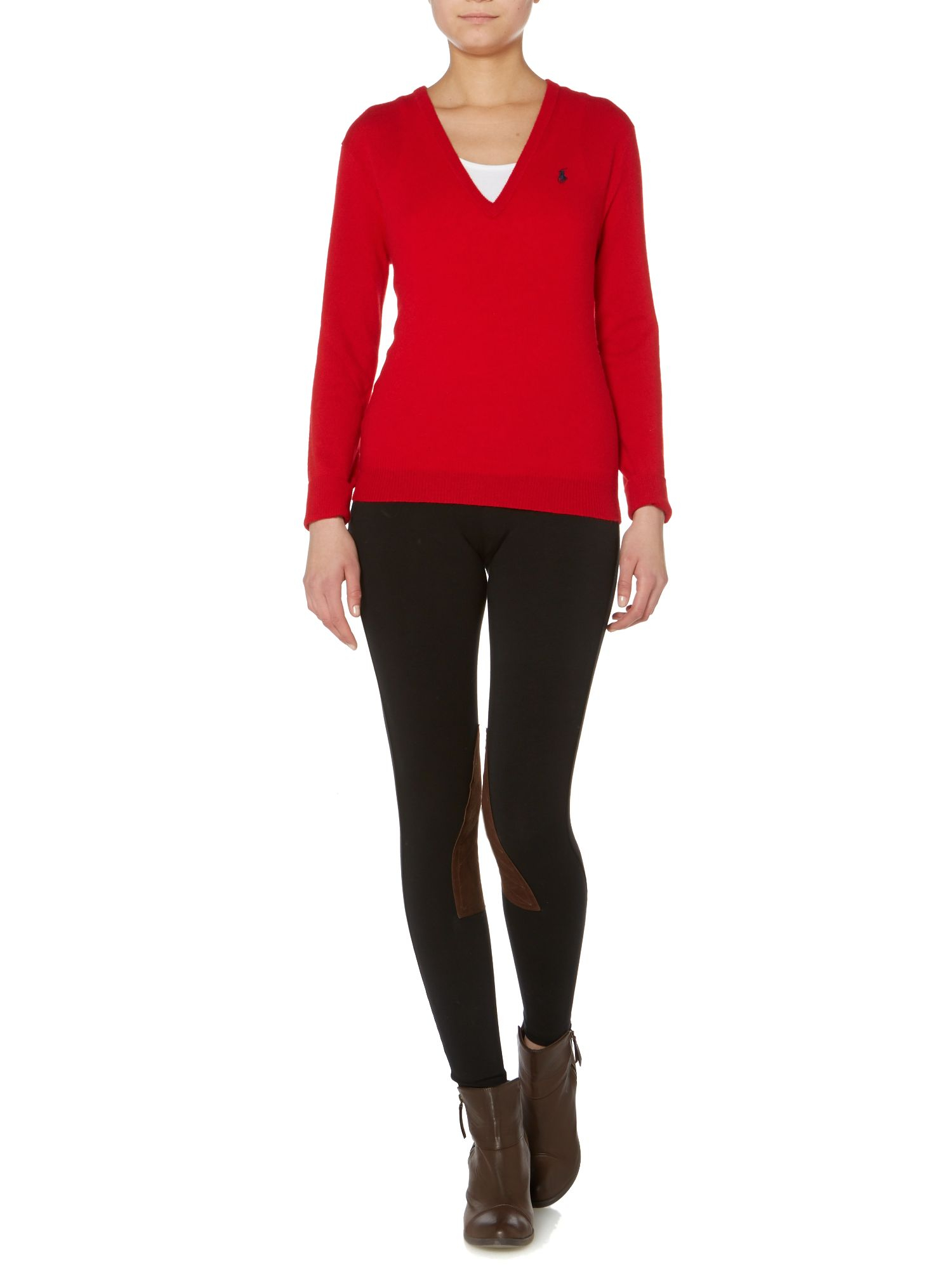 polo ralph lauren straight fit legging with knee patch in black lyst. Black Bedroom Furniture Sets. Home Design Ideas