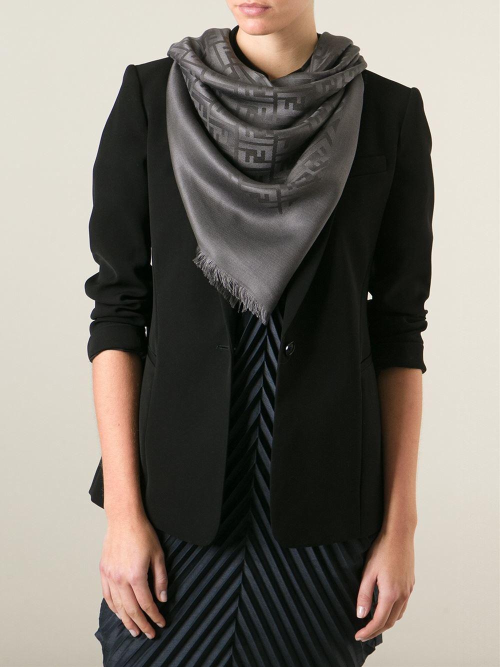 445ecf7f536 switzerland lyst fendi ff logo scarf in gray 0beed 71c19