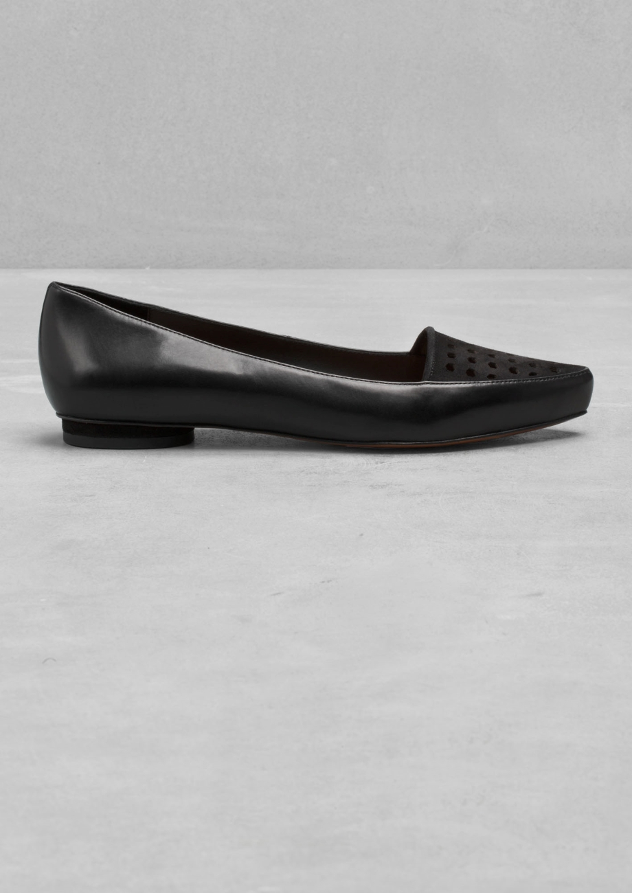 71d6b764d51   Other Stories Pointed Leather Flats in Black - Lyst