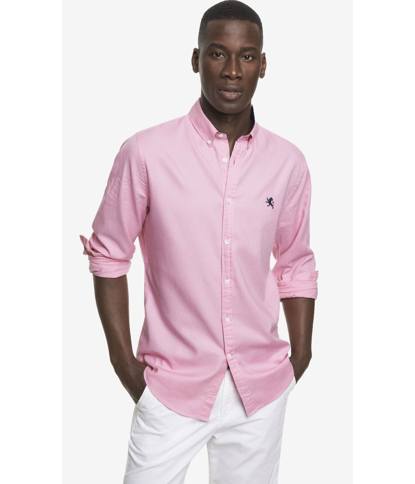 Lyst express fitted oxford shirt in pink for men for Pink oxford shirt men