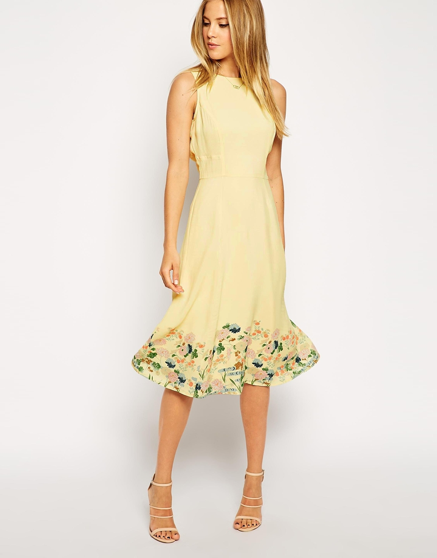Lyst Asos Midi Dress In Botanical Border Print In Yellow