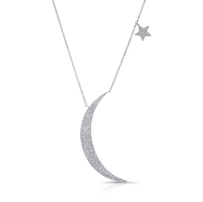 Lyst Anne Sisteron 14kt White Gold Diamond Moon And Star