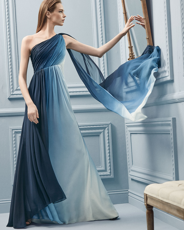 Lyst - Ml Monique Lhuillier One-shoulder Ombre Draped Gown in Blue