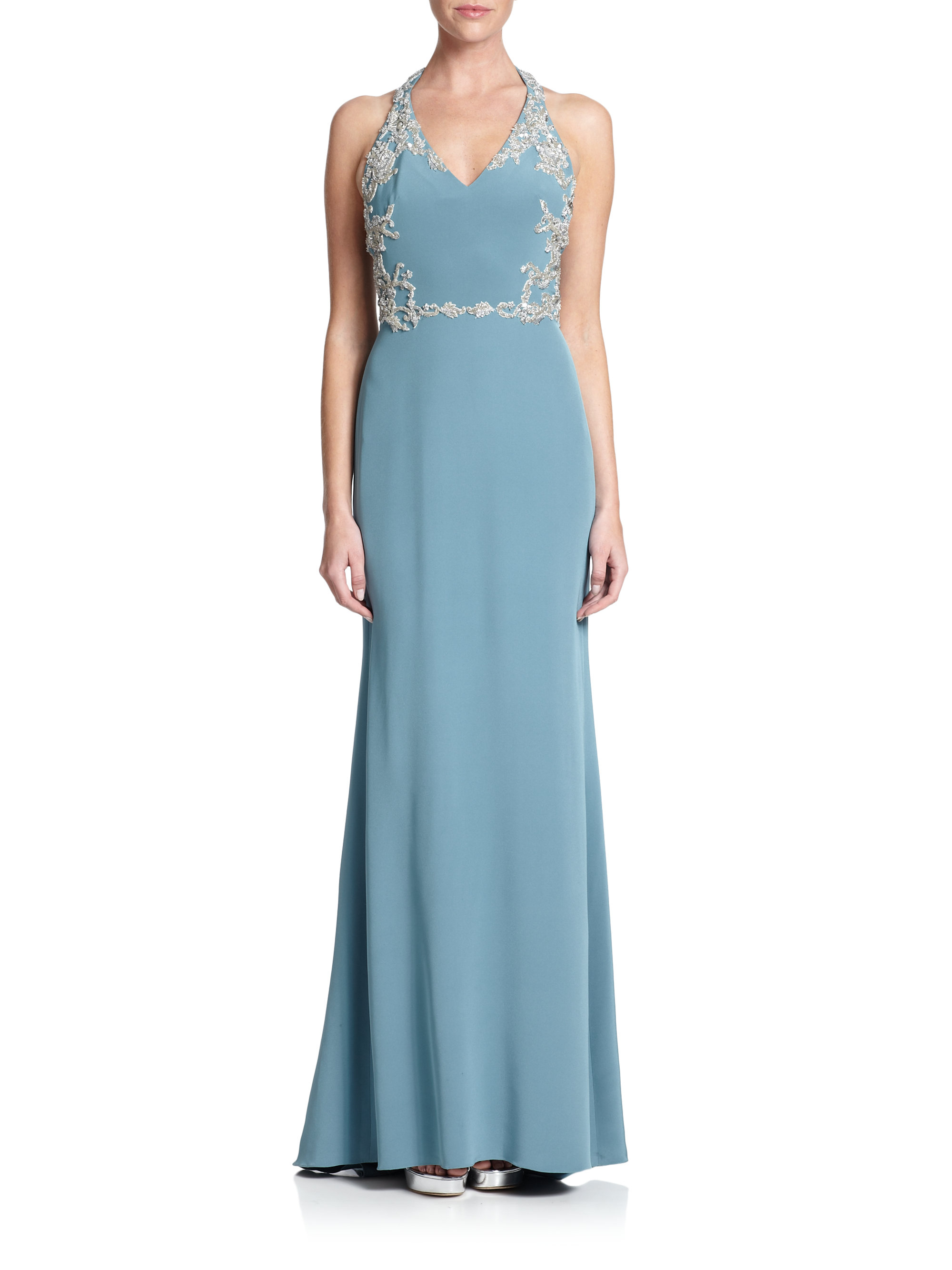 Lyst - Notte By Marchesa Embellished Silk Halter Gown in Green