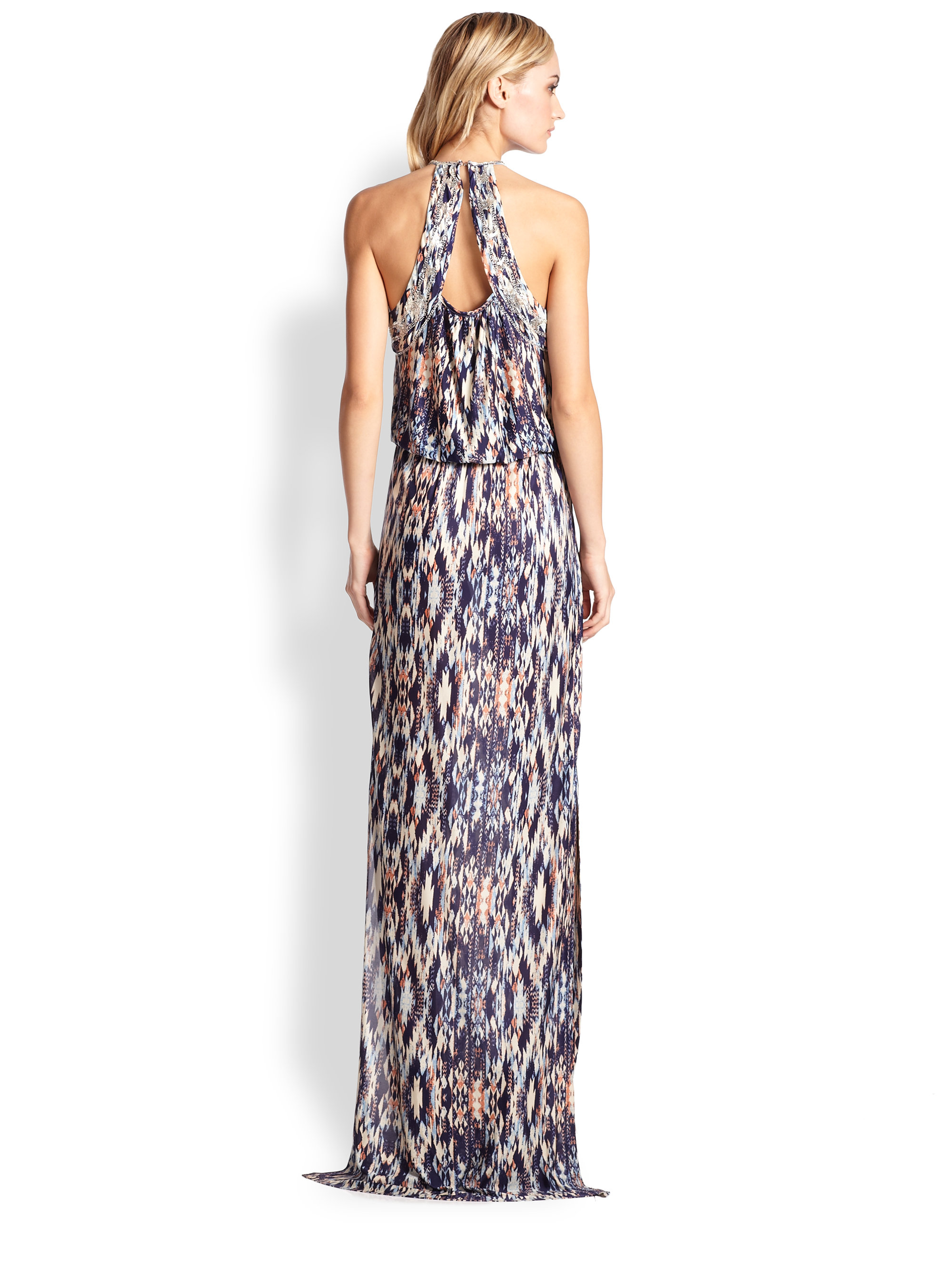 Parker Moriah Beaded Cutout Tribal-Print Maxi Dress in Natural  Lyst