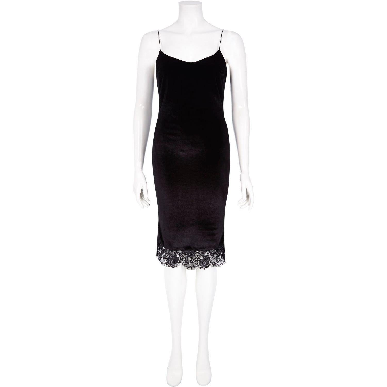 b303385d72 River Island Black Velvet Lace Hem Cami Dress in Black - Lyst