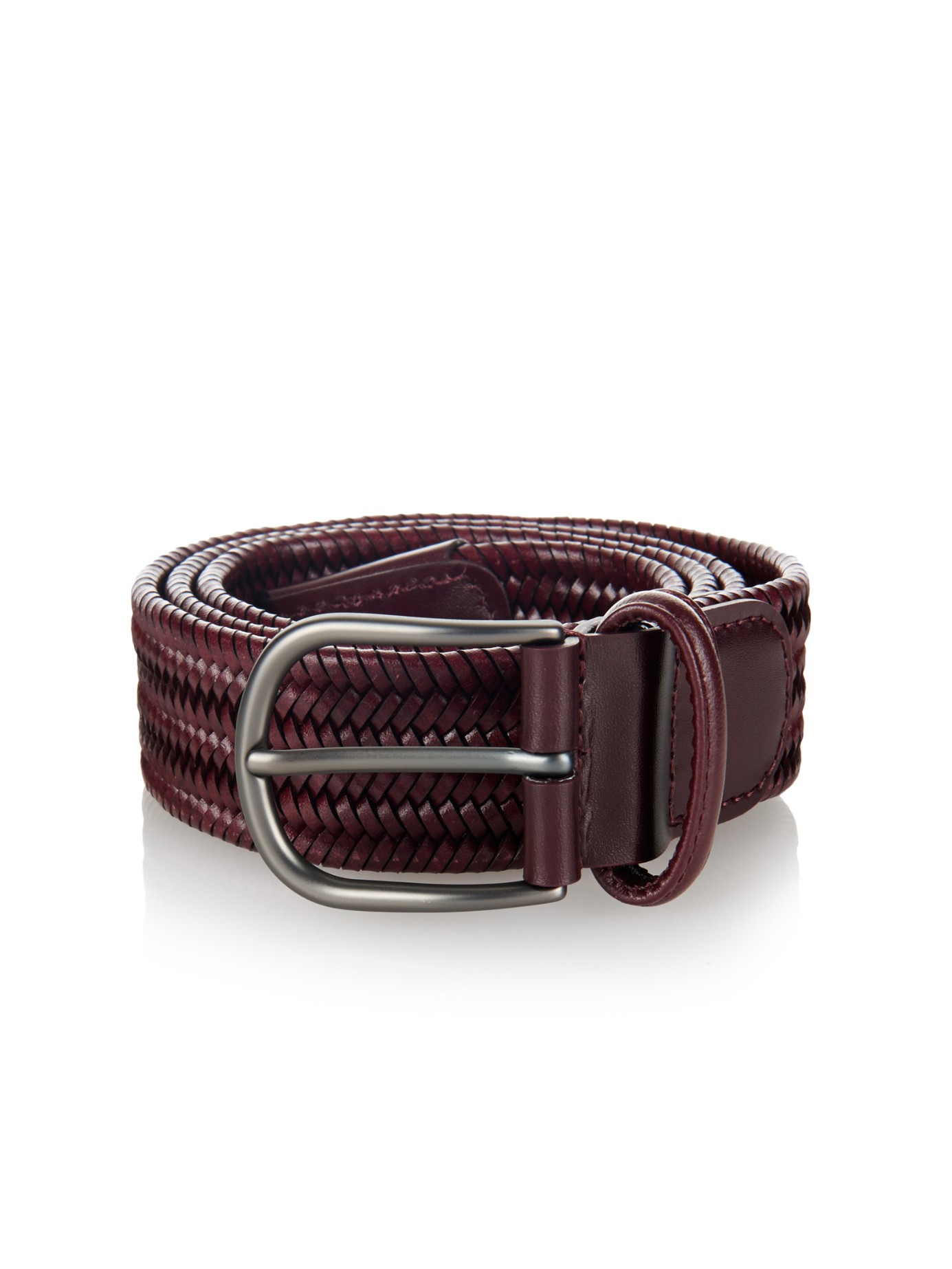 andersons woven leather belt in brown for lyst