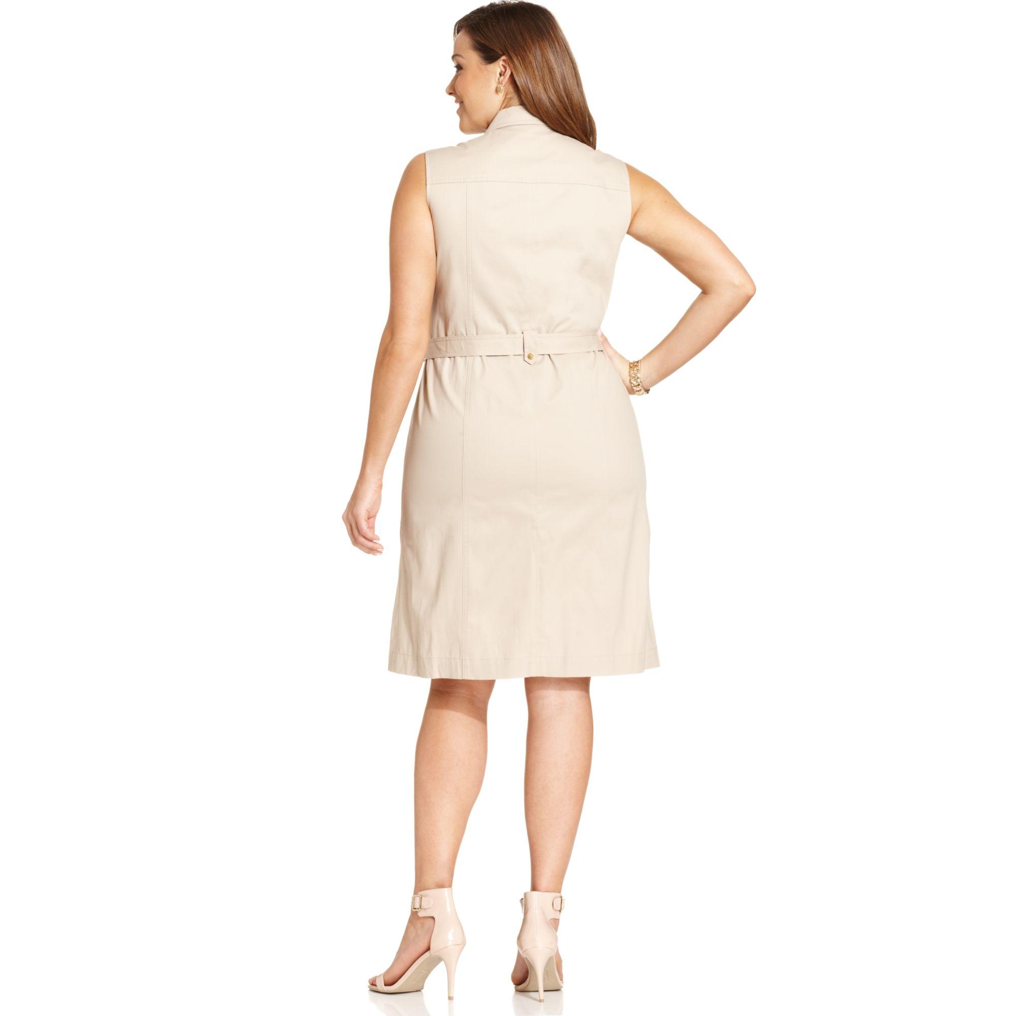 687f15bc235 Lyst - Jones New York Signature Plus Size Sleeveless Safari Dress in ...