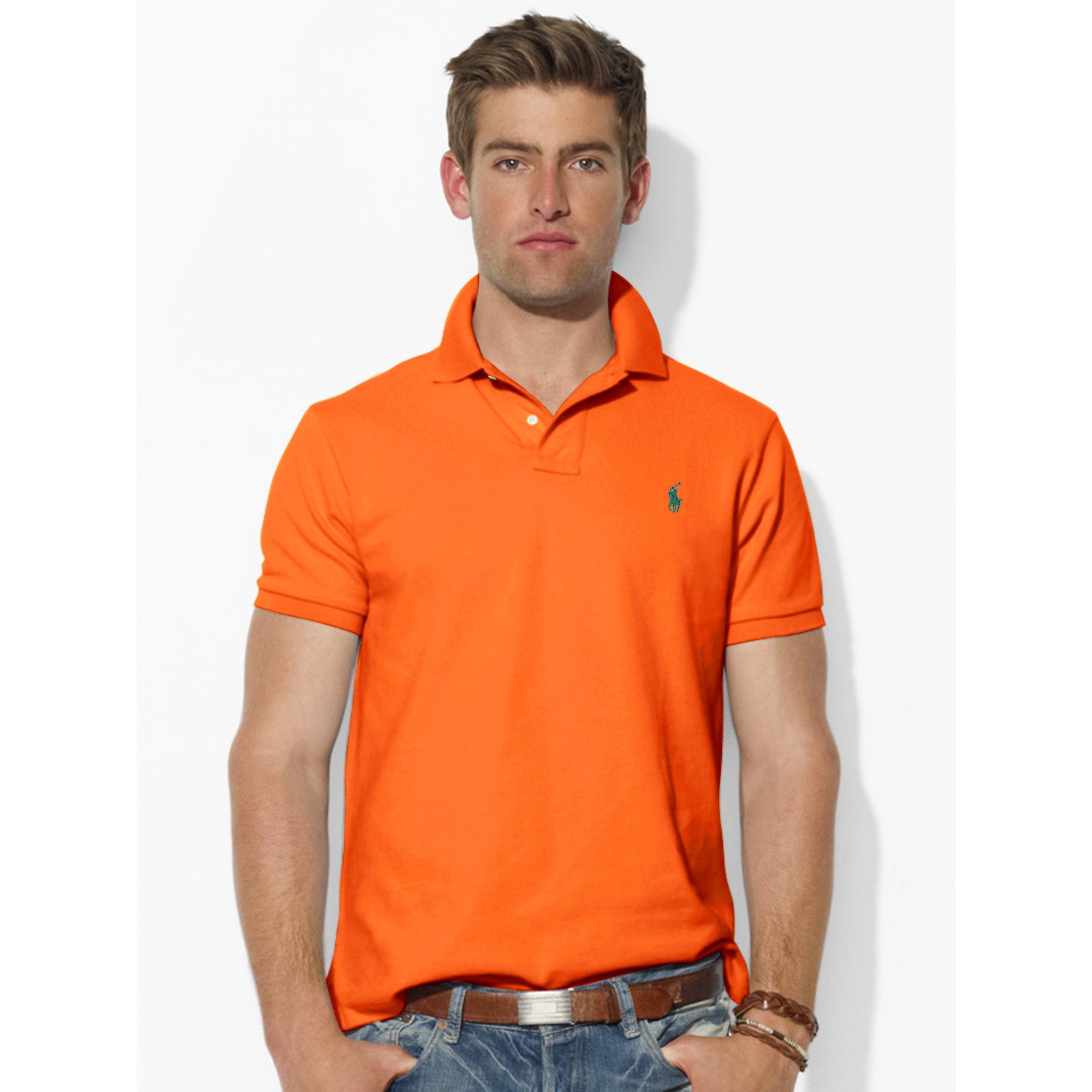 Polo men ralph lauren stickup darkblue red custom fit mesh for Orange polo shirt mens