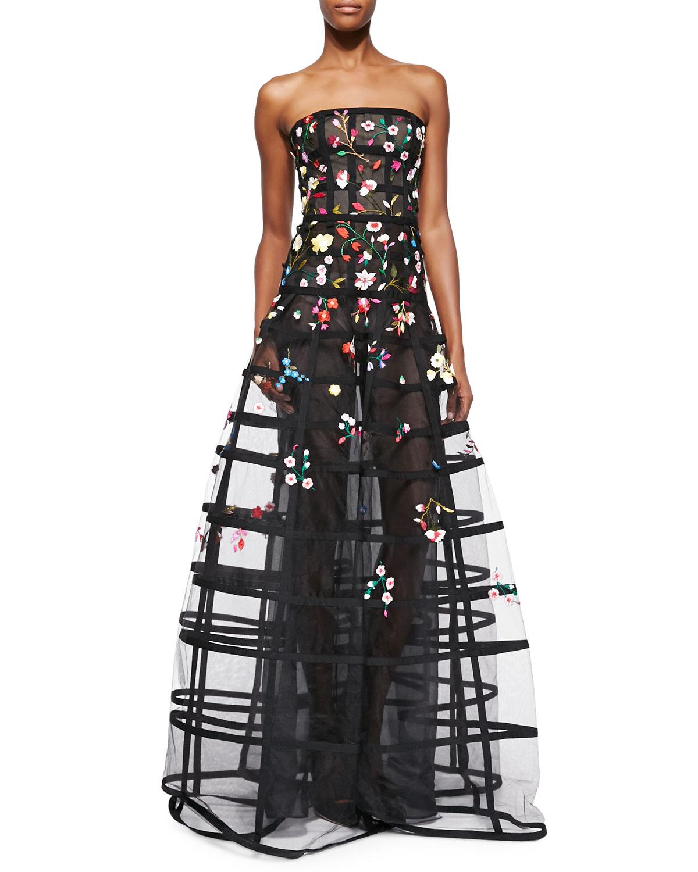 Oscar De La Renta Straplesss Floral Embroidered Wire Dress