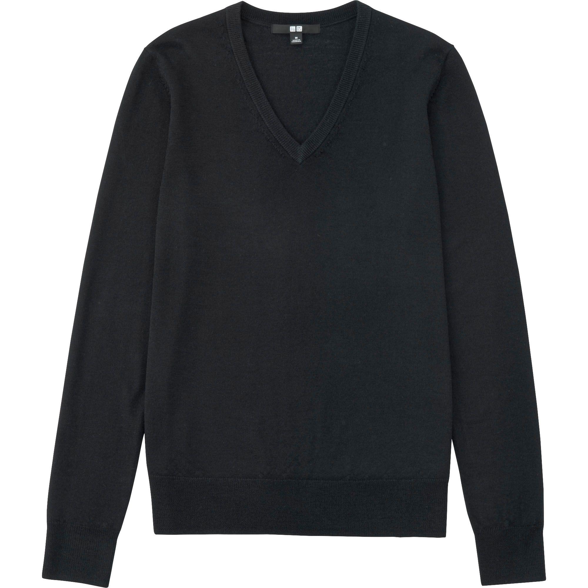 Uniqlo Women Extra Fine Merino V Neck Sweater In Black Lyst