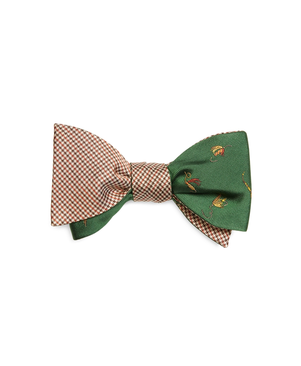 Brooks brothers houndstooth and fly fishing reversible bow for Fish bow tie