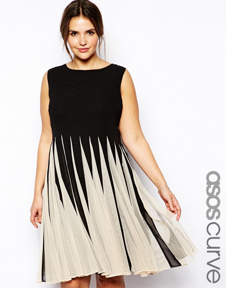 Lyst Asos Fit Amp Flare Dress With Inserts In Mono In Black