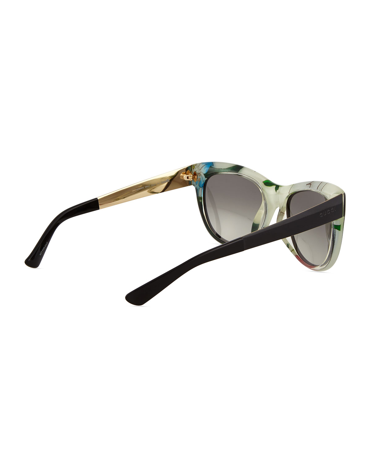28c6bede5a28b Gucci Floral-fabric-embed Butterfly Sunglasses in Black - Lyst