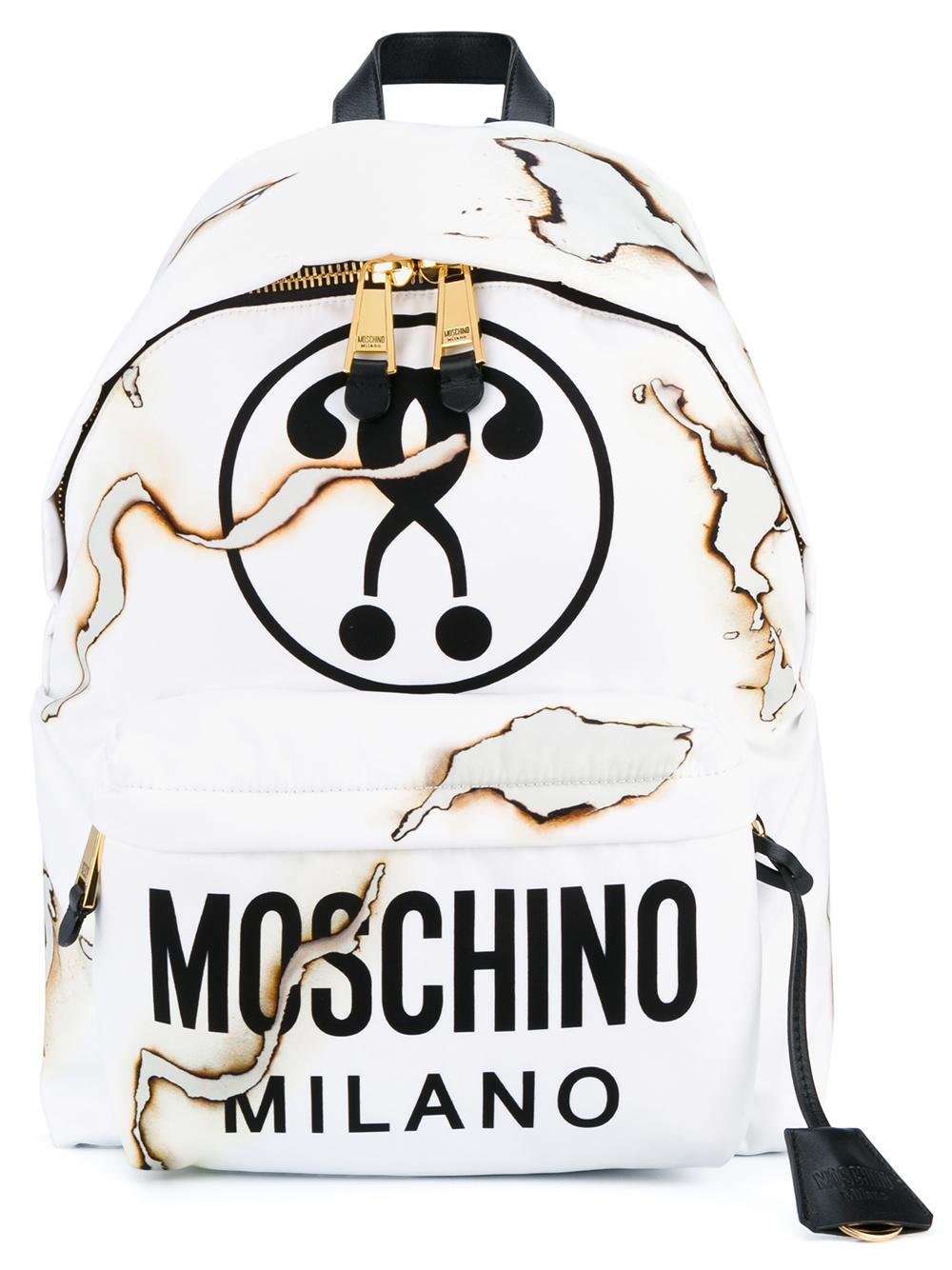79b61b8495 Moschino Cigarette Burn Backpack in White - Lyst