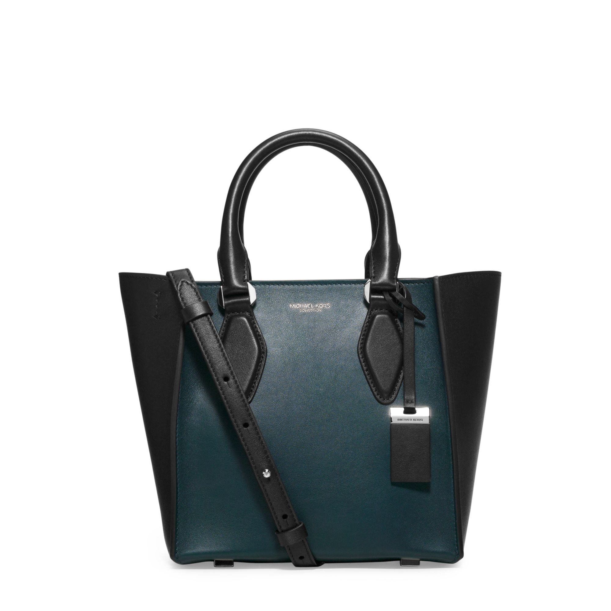551d5f3166ff ... inexpensive lyst michael kors gracie small two tone leather tote in  blue 8e71d 39cb7
